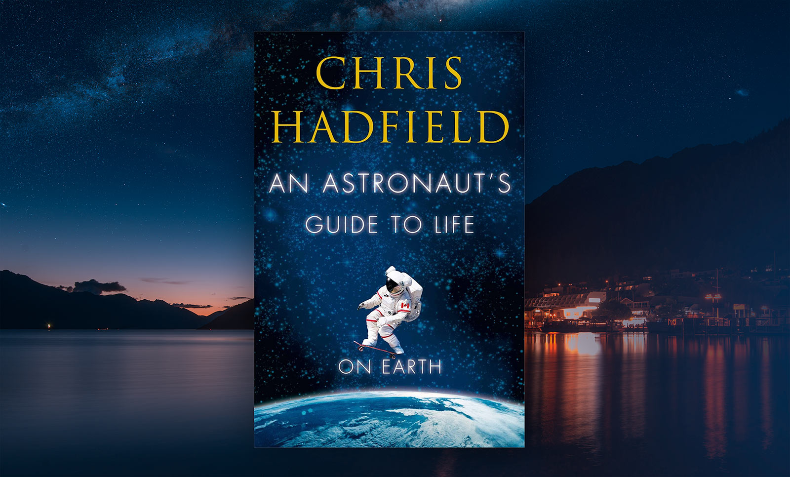 Hadfield's book with Queenstown in the background